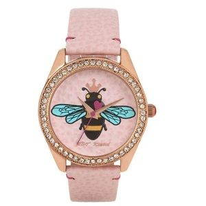 Betsey Johnson 3D Bee On Leather Dial Watch